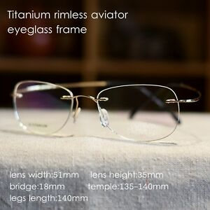 a8a70a0fcc8 Image is loading Ultra-Light-Titanium-mens-gold-Myopia-Glasses-Rimless-
