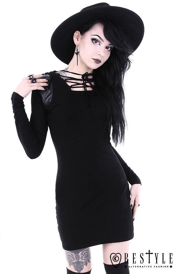 Restyle Armor schwarz Gothic Hooded Vegan Leather Punk Emo Adult damen Dress