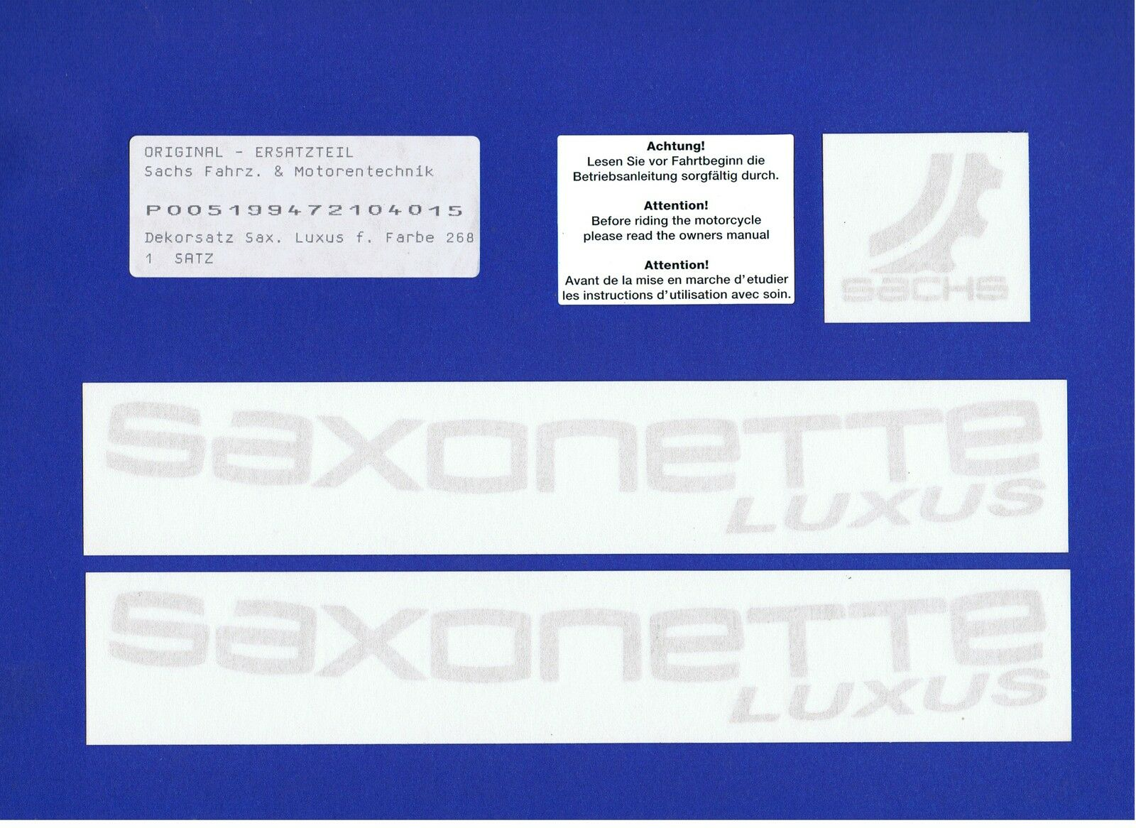 P005199472101006 Original Sachs Sticker Set Saxonette 03 et