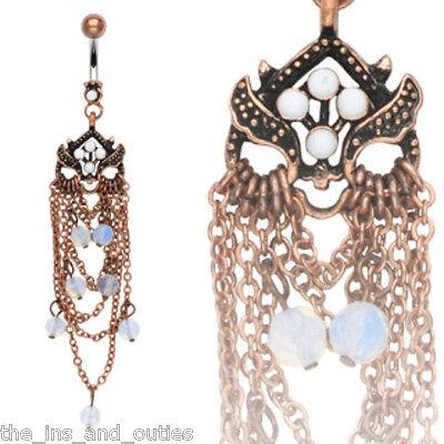 Vintage Owl Chandelier Opal Bead Belly Ring Navel (w10)