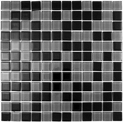 Black and Gray Mix Glass Mosaic Tile for Bathroom, Backsplash 22 sq ft box