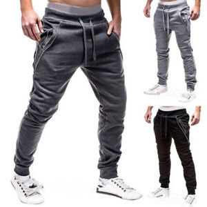 Gym-Men-039-s-Track-Pants-Casual-Zipper-Sports-Jogging-Sweat-Pencil-Pants-Trousers