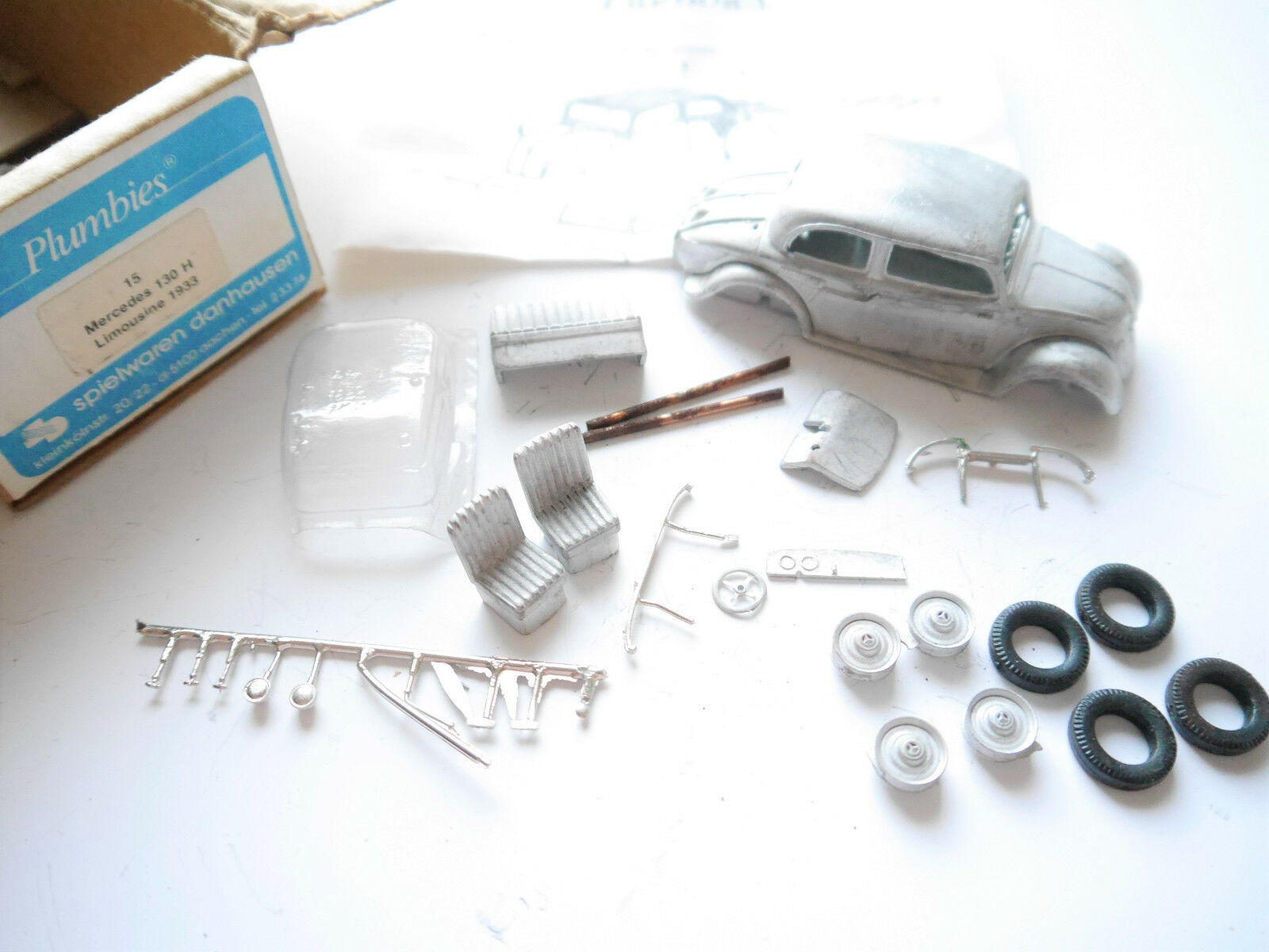 MERCEDES Type 130 H Limo 1933, blancmetall-Kit WM-Kit, PLUMBIES  15 1 43 en Boîte