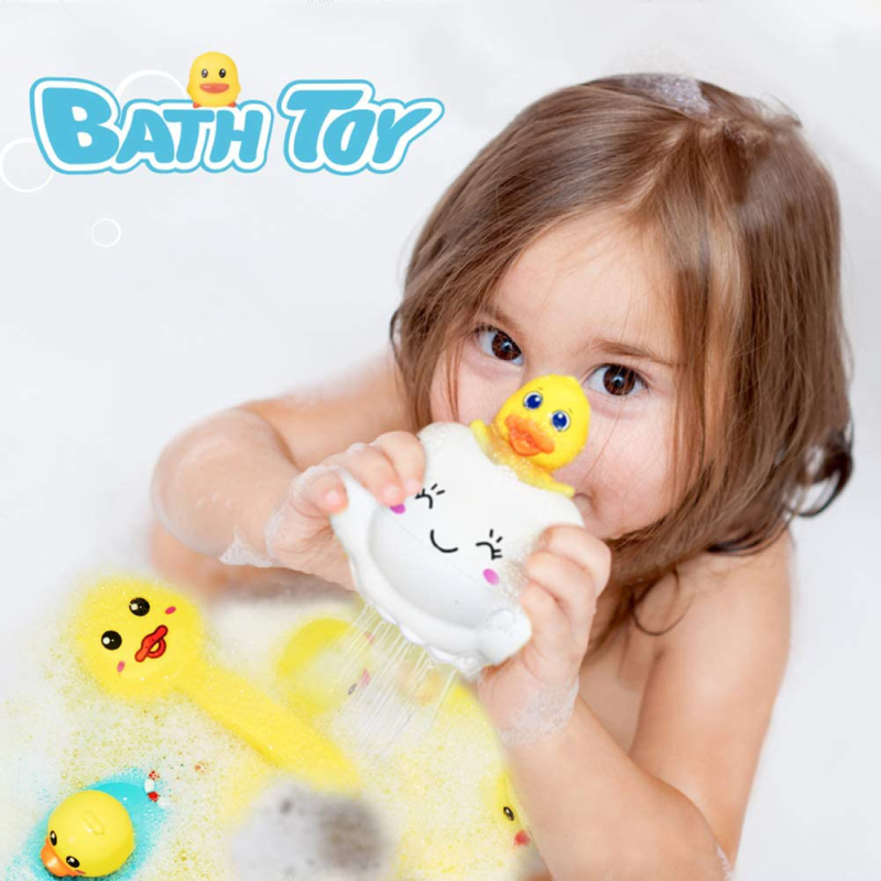 Electric Duck Bathtub Water Spray Toy Water Games Adjustable Sprinkler Two Spraying Modes Birthday Gifts for Infants Toddlers 18 Months Only Stick on Smooth Surface Baby Bath Toy Shower Head Toy