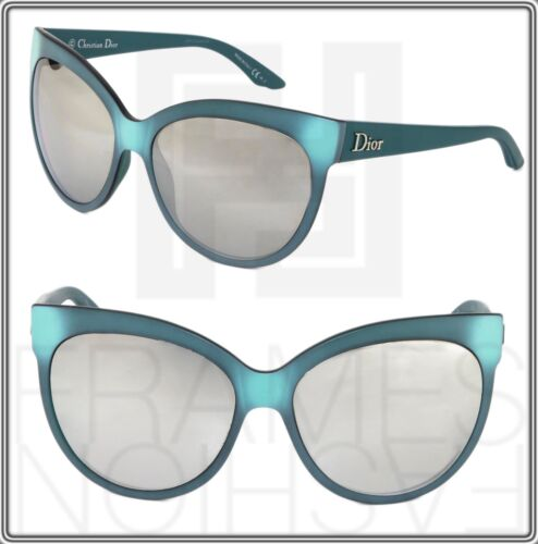 CHRISTIAN DIOR PANAME Cat Eye Green Silver Mirrored Optyl Sunglasses Oversized