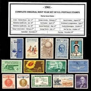 1961-COMPLETE-YEAR-SET-OF-MINT-NH-MNH-VINTAGE-U-S-POSTAGE-STAMPS