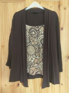 Two-layer-top-printed-pattern-inner-with-attached-brown-long-sleeved-cardigan