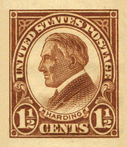 1926 1 1/2c Warren Harding, Brown, Imperforate Scott 63