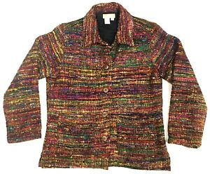 The-Territory-Ahead-Women-S-Jacket-Blazer-100-Silk-Multi-Color-Lined-Nubby