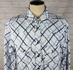 Blue-Willi-039-s-Denmark-Mens-Large-Flannel-Pearl-Snap-Western-Shirt-Check-Plaid