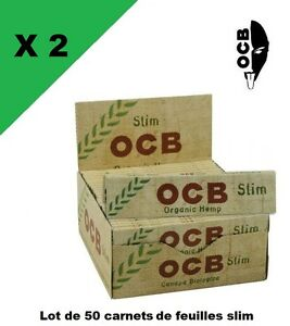 OCB-slim-Hemp-bio-2-boxes-50-booklets-of-sheet-rolling-long-slim-PROMO