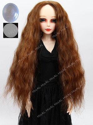 "BJD Doll Hair Black Long Curly Wig 6-7/"" 1//6 SD DZ DOD LUTS Soom Volks Cap HUAL#"