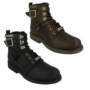 HARRISON D93438 HARLEY DAVIDSON MENS LEATHER LACE UP ANKLE BIKER BOOTS SIZES