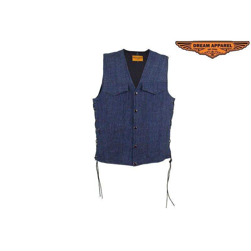 Herren Dark Blau Denim Motorcycle Biker Club Vest With Concealed Carry
