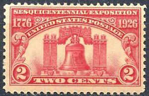 Scott # 627-deux cent Liberty Bell Stamp - 1926-inutilisées-ORIGINAL GUM-Jamais à charnière-Comme neuf