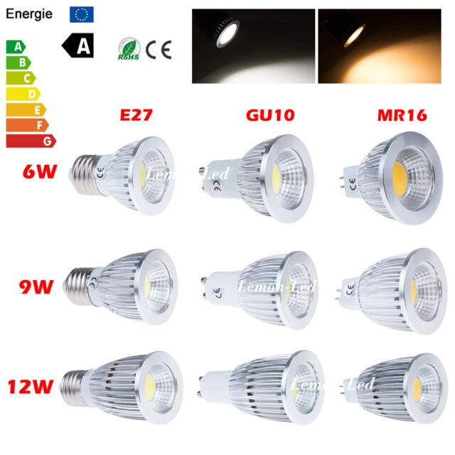 Dimmable MR16 GU10 E27 COB LED Spot Down Light Ceiling Lamp Bulb 6W 9W 12W New