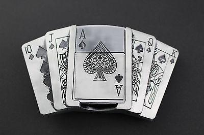 !!! Poker Royal Flush Fibbia Della Cintura Con Accendino Ace Rimovibile!!!-