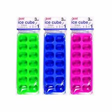 3 Pk Ice Cube Maker Tray Non Sticky Moulded Jelly Maker 14 Cubes