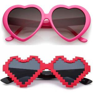 cede2f9b49c0 Image is loading Heart-Shape-Sunglasses-Hot-Pink-Festival-Fancy-Dress-