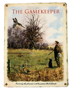 METAL-TIN-GAMEKEEPER-SIGN-PLAQUE-SHED-PHEASANT-COUNTRY-GIFT-FARMING-SHOOTING