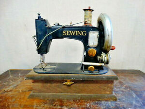 Replica Antique Sewing Machine on Hinged Trinket Box