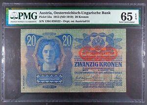 1913-ND-1919-Austria-20-Kronen-Banknote-P-53a-PMG-Gem-UNC-65-EPQ