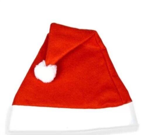 12x Christmas Party Accessory Santa Hat Felt Xmas Festive Novelty UK SELLER