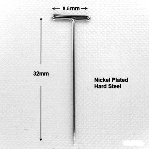 NICKEL PLATED HARD STEEL T PINS T-PIN T-HEAD MACRAME MODELLING CRAFT 3 Sizes