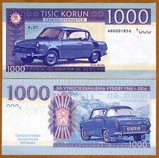 Czechoslovakia, 1000 Korun, 2016, Private issue, Specimen, UNC > Skoda 1000 MBX