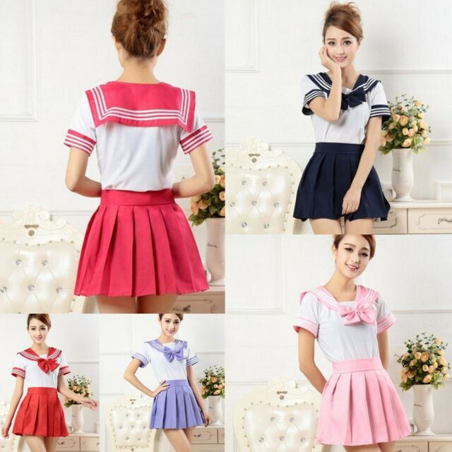 Japanese School Girl's Dress Outfit Sailor Uniform Cosplay Costume Fancy Dresses