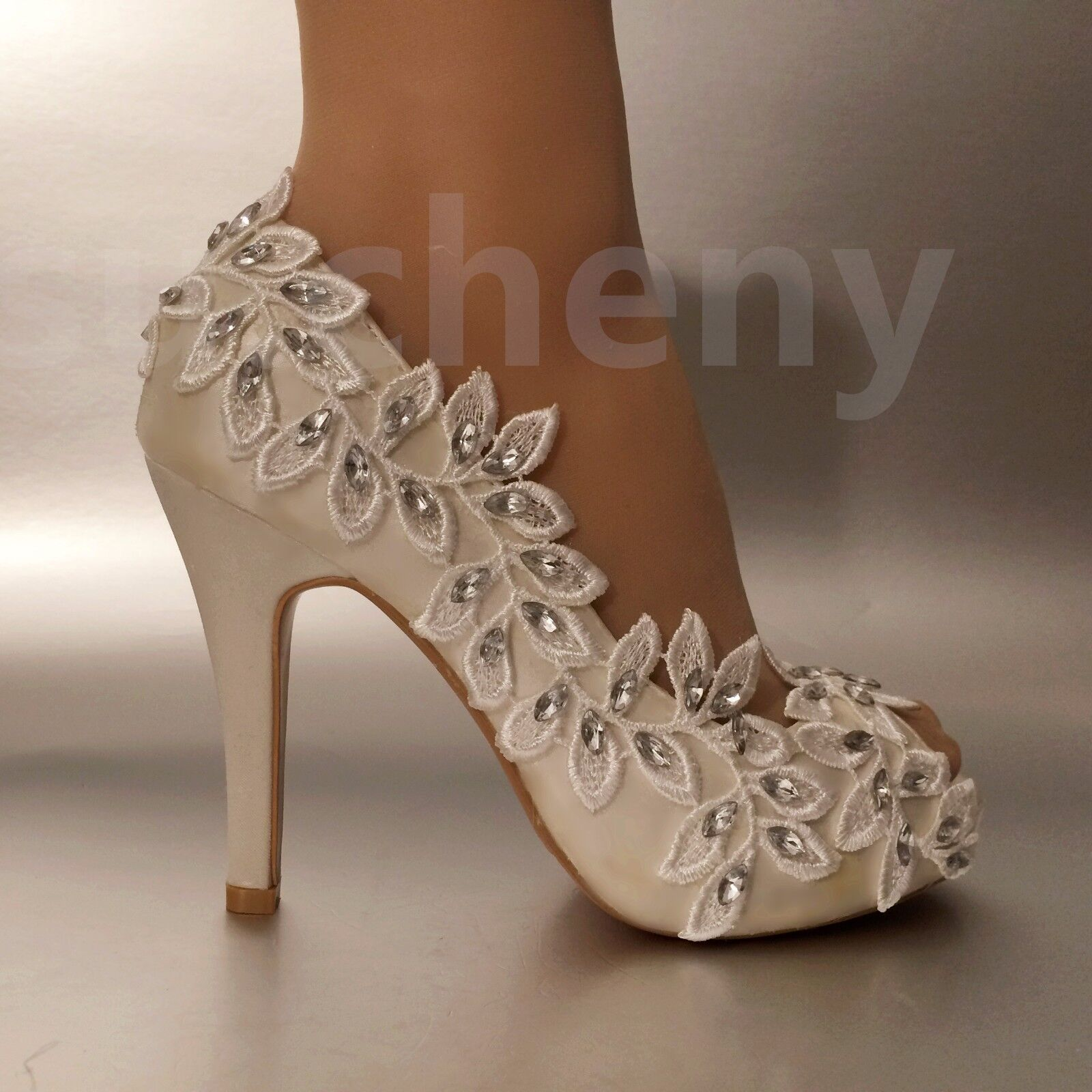 Su.cheny 3 3 3  4  heel white ivory lace Olive branch open toe Wedding Bridal shoes 5e1f82