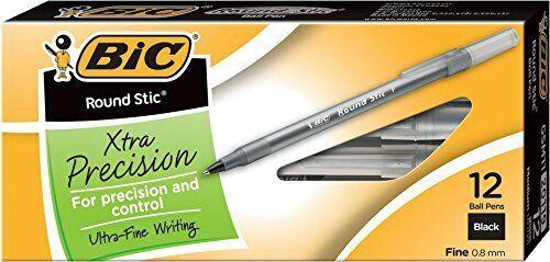 Black 12-Count 0.8mm BIC Round Stic Xtra Precision Ballpoint Pen Fine Point