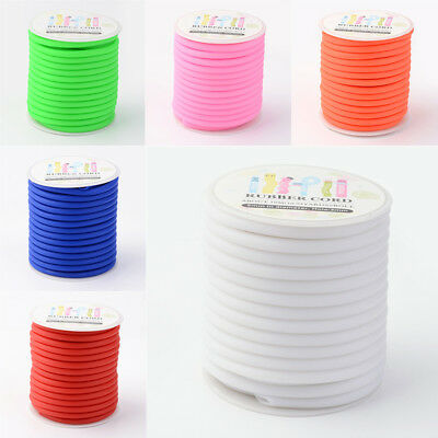 1x Wrapped Around White Plastic Spool Silicone Cord 5mm Hole 3mm about 10.94yard
