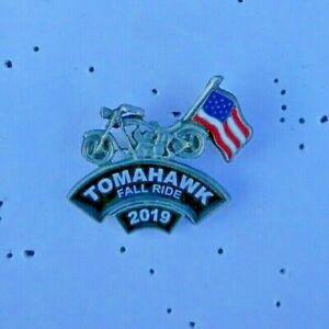 Tomahawk Wisconsin 2019 Fall Rally Pin  Lady On Moon Biker Vest Jacket