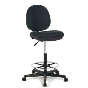 Moustache-Patterned-Fabric-Drafting-Office-Home-Chair-Black
