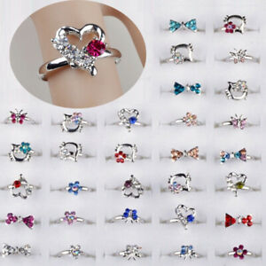 10-100pcs-Adjustable-Wholesale-Mix-Crystal-Children-Kids-Silver-Rings-Tail-Ring