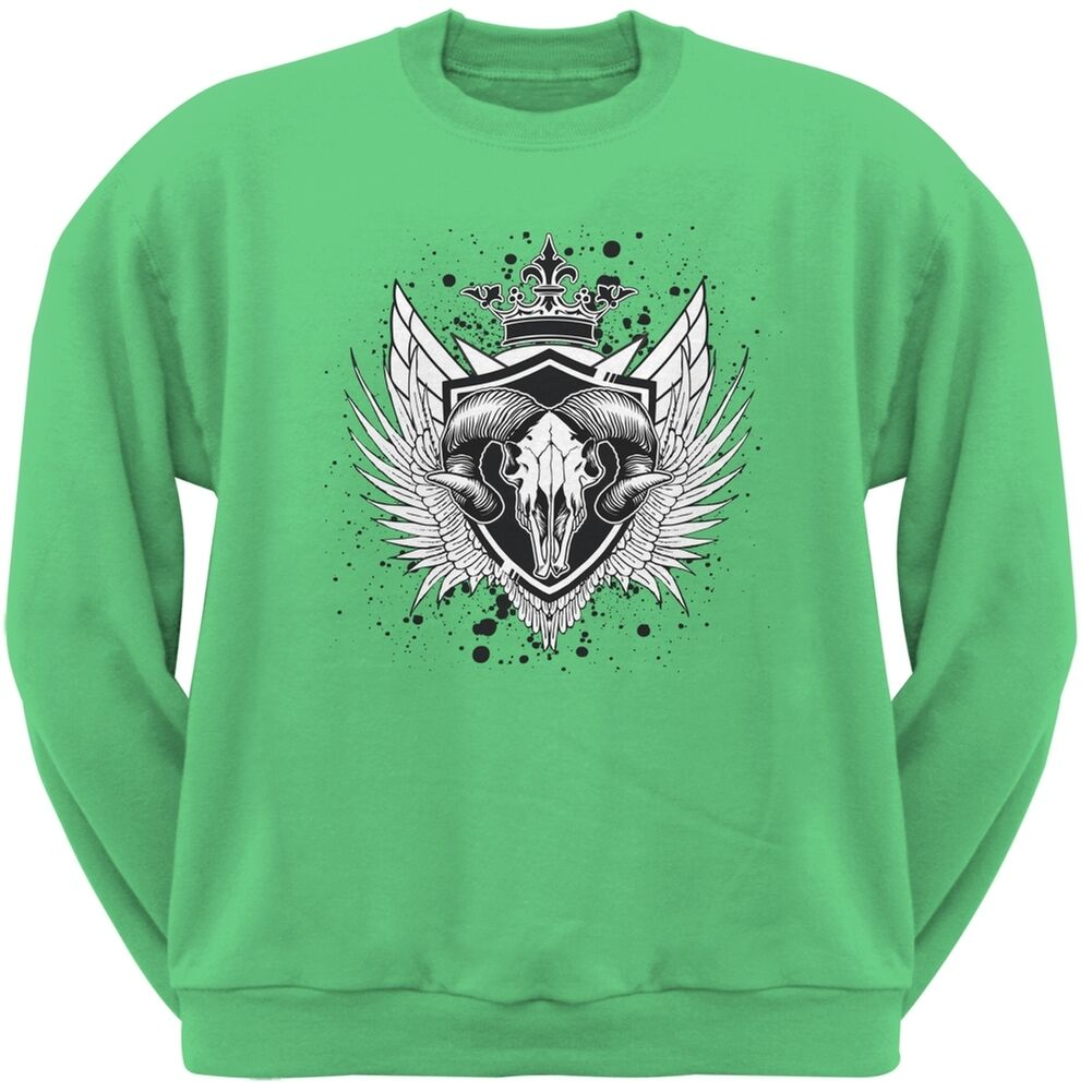 Ram Skull Irish Grün Adult Sweatshirt