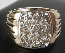 LARGE HEAVY 14k Gold 1.00 Ct Mens IB GOODMAN 10-Diamond Cluster Ring~Sz 10.25~9g