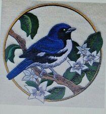 SPRING BIRD CARDINAL VIOLET CIRCLE Hand Towel Set Embroidered