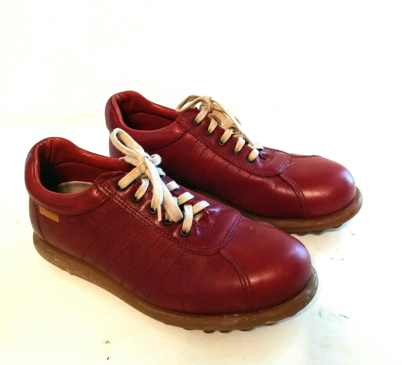 Camper Womens Shoes Red Burgundy Leather Oxford Sneakers EU 38 US 7.5 8 Lace Up