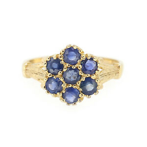 Vintage-9ct-Yellow-Gold-Sapphire-Cluster-Ring-Size-N