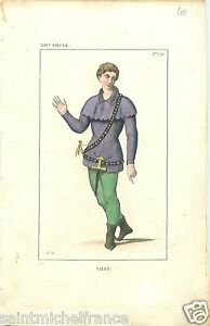 VALET-COSTUME-MIDDLE-MOYEN-AGE-REHAUSSEE-AQUARELLE-GRAVURE-OLD-PRINT-1834