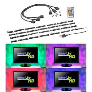 led tv tv hintergrundbeleuchtung mit 4 rgb leisten f r 61 111 cm usb ebay. Black Bedroom Furniture Sets. Home Design Ideas