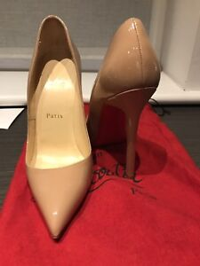 check out 9de30 72295 Details about Christian Louboutin Pigalle Patent Nude. Authentic with dust  bag.