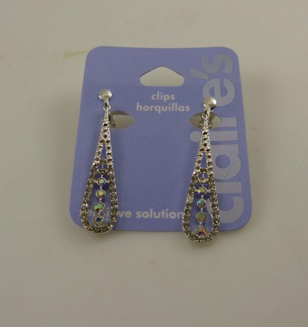 elegant silvertone crystal bling clip earrings dangle accessory