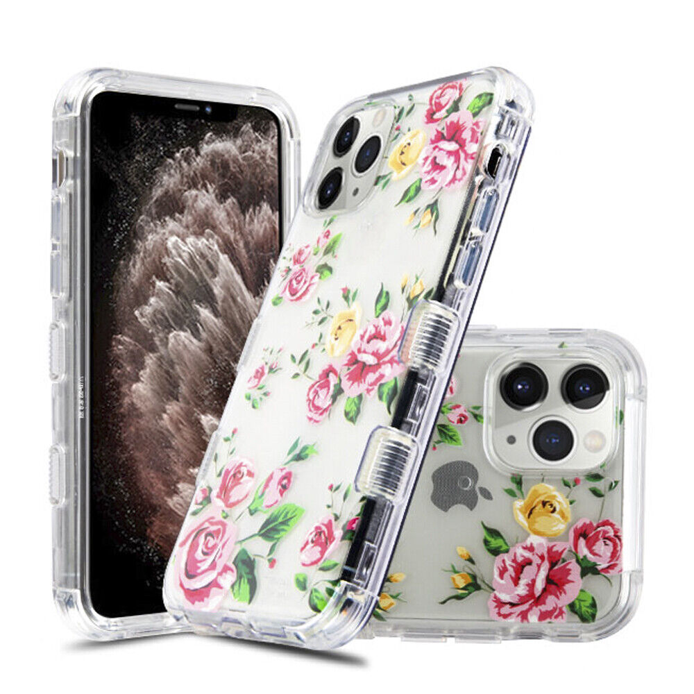 FOR APPLE IPHONE 11 PRO MAX PINK ROSES LUCID TUFF SEE-THRU ...