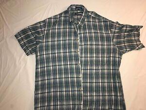 Mens-Blue-Plaid-Van-Heusen-Button-Down-Shirt-Short-Sleeve-Cotton-Size-Large