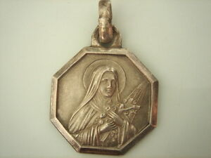 SUPERBE-MEDAILLE-DOUBLE-FACE-Sainte-Therese-de-Lisieux-VINTAGE-70-NEUF-NEW