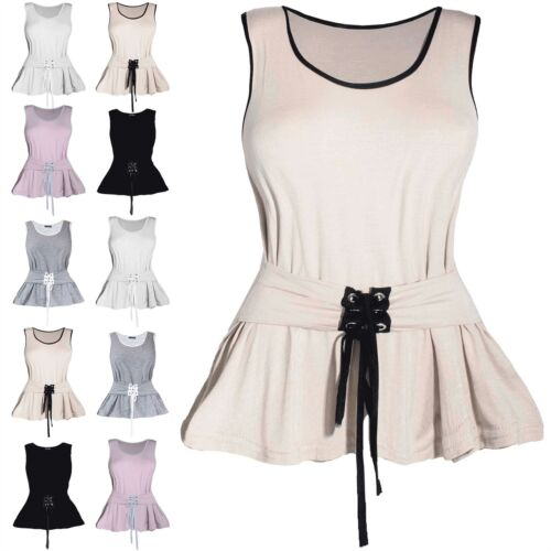 Women Ladies Lace Up Tie Knot Eyelet Corset Belted Sleeveless Peplum T Shirt Top