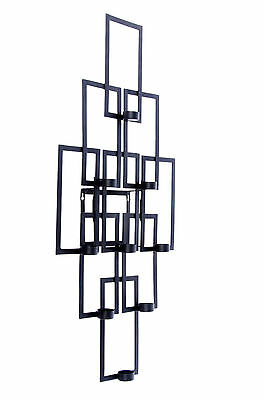 Black Contemporary Wall Mounted Candle Holder Wall Sconce - 9 Glass Holders